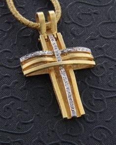 Χειροποίητος σταυρός χρυσός Κ18 με Διαμάντια Christian Symbols, Girl Christening, Rosary Beads, Cross Jewelry, Diy And Crafts, Jewelery, Fashion Jewelry, Crosses, Christianity