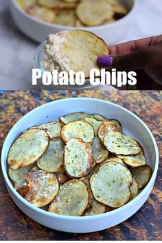Air Fryer Crunchy Homemade Sour Cream and Onion Potato Chips is a quick and easy recipe loaded with the perfect seasoning. This healthy appetizer works well with the Cosori, Power Air Fryer, Nuwave, or any air fryer brand. Air Fryer Oven Recipes, Air Frier Recipes, Air Fryer Dinner Recipes, Air Fryer Recipes Videos, Air Fryer Chips, Air Fryer Potato Chips, Whole Food Recipes, Cooking Recipes, Healthy Recipes