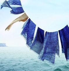 Indigo, textiles, fabric, ocean