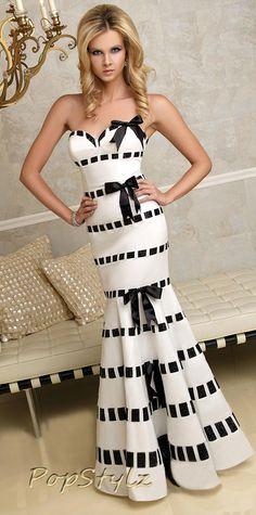 Terani Black & White Mermaid Gown