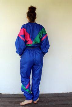 Creation Tracksuit Vintage 80s Streetwear Track Suit Hipster | Etsy Rain Jacket, Bomber Jacket, Dungaree Dress, Gauze Dress, Jeans Jumpsuit, Black Romper, Overall Shorts, Elastic Waist, Purses