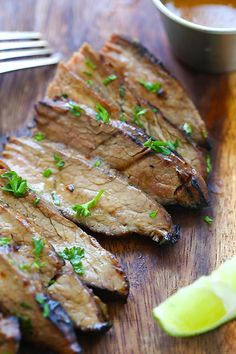 Honey Sriracha Flank Steak - Tender and juicy steak marinated with honey sriracha butter. So easy, delicious and the best grilled steak recipe ever | rasamalaysia.com