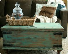 Aqua Painted Trunk Coffee Table - inspired by a Pottery Barn trunk.