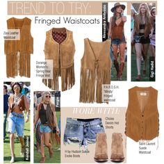 Trend To Try-Fringed Waistcoats by kusja on Polyvore featuring P.A.R.O.S.H., Durango, Yves Saint Laurent, Zara, H by Hudson, coachella, trend, celebstyle and waistcoat