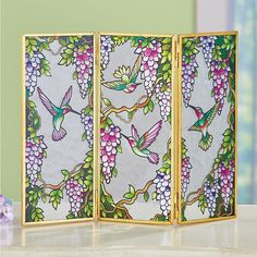 Small Decorative Hummingbird Trio Tabletop Glass Screen   Collections Etc. Wildlife Decor, Collections Etc, Candle Set, Wisteria, Glass Screen, Hummingbird, Stained Glass, Glass Art, Color