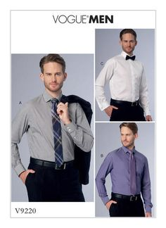 """MEN'S STANDARD, TAILORED, OR SLIM FIT BUTTON-DOWN SHIRTS  Standard fit, tailored fit or slim fit shirt has pointed collar and collar band, self-lined yoke with forward shoulder seams, flat-fell seams, shaped hemline, narrow hem, and long sleeves with pleats and placket. A, B: Button cuff, godets. A: Topstitching. C: French cuffs.    FABRICS: Cotton Shirting, Lightweight Linen, Chambray.  Unsuitable for obvious diagonals.    NOTIONS: A, B, C: Two Collar Stays. A, B: Eleven 1/2"""" ..."""