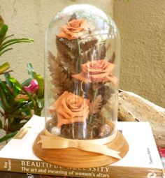 VINTAGE Pink Roses Glass Dome on Wooden Base  by FunkAndMore, $22.00