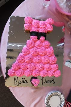 Pink wedding dress cupcakes for a pink and black bridal shower
