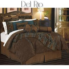 Del Rio Southwestern Bedding Comforter Set features a rich micro faux suede comforter with faux leather accents that coordinate with the chocolate brown tailored bedskirt. Matching accessories available! #DelectablyYours Southwestern Western Bed & Bath Decor
