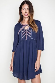 73e502ca0d402 Embroidered Indigo Fit   Flare Dress - Umgee – Thistle   Finn Fit Flare  Dress