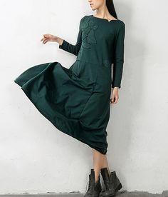 green autumn dress 3/4 sleeve maxi dress cutton dress by ideacloth, $75.00