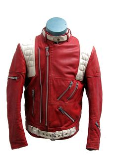 Vintage 1980's Men's Red / White Leather Zip Hein Geriecke Motorcycle Jacket size 42 (Large).