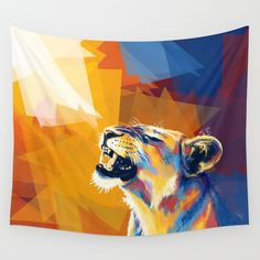 In the Sunlight - Lion portrait Wall Tapestry. #painting #digital #abstract #illustration #impressionism #animal #lion #lioness #wild #original #sunrise #relaxing #happy #portrait #colorful #fantasy #nature #wilderness #roar #geometric #big-cat