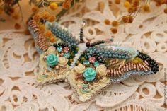 Купить брошь бабочка Дыхание весны - бирюзовый, брошь бабочка, бабочка, мотылек, брошь мотылек