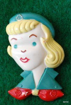 VINTAGE 1950's GIRL SCOUT PLASTIC FUN PIN - GIRL SCOUT | eBay