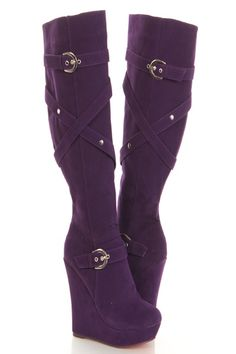 I found 'Purple Faux Suede Strappy Buckle Knee High Wedge Boots' on Wish, check it out! Purple Boots, Purple Suede, Purple Rain, Suede Boots, Heeled Boots, Bootie Boots, Cute Shoes, Me Too Shoes, Knee High Wedge Boots
