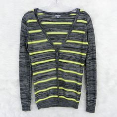 Womens CHARLOTTE RUSSE Gray Black Lime Striped Lightweight Cardigan Size Small #CharlotteRusse #Cardigan #CasualWork