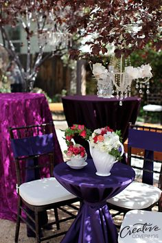 Purple Is The New Pink! Www.creativecoverings.com #creativecoverings  #weddinglinens #