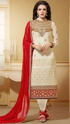 USD 40.94 Cream Georgette Churidar Salwar Kameez 44484