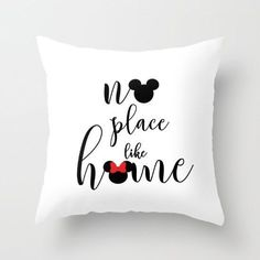 no place like home mickey and minnie mouse handwritten  disney inspirational quote throw pillow with insert by studiomarshallgifts on Etsy