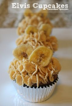 Elvis Cupcakes with Banana Cupcakes and Peanut Butter Frosting ~ yummy recipe