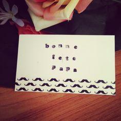 Carte Bonne fête papa avec du masking tape moustache