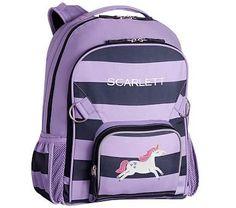 Large Backpack, Fairfax Lavender Navy Stripe Unicorn
