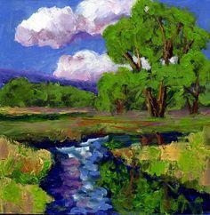 original oil painting modern abstract 8x8 inch tree art cloud