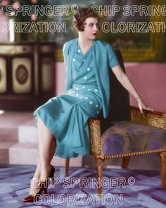 GINGER ROGERS AS FLAPPER POSING ON CHAIR BEAUTIFUL COLOR PHOTO BY CHIP SPRINGER. Featured Ebay Listing. Please visit my Ebay Store, Legends of the Silver Screen, at http://legendsofthesilverscreen.com to see the current listings of your favorite Stars now in glorious color! Thanks for looking and check out my Youtube videos at https://www.youtube.com/channel/UCyX926rA5x4seARq5WC8_0w