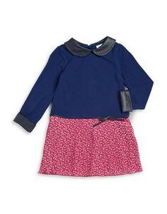 Us Angels Girls 2-6x Colorblocked Long Sleeved Dress  Blue 4