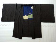 Japanese Antique Kimono, HAORI, SILK, Black,Flower,Beautiful condition, P020118    eBay