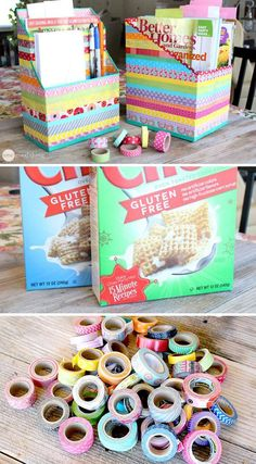 The next time you go to throw a food box, think carefully. Is that just a food box? With the help of various decorative selotepes you can also decorate different boxes. Food Box, Diy Storage Boxes, Craft Storage, Creative Storage, 5 Min Crafts, Diy And Crafts, Diy Stationery Organizer, Old Boxes, Pencil Boxes