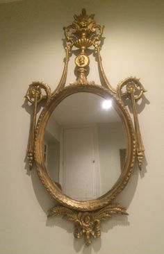 "Lovely Carved Giltwood Mirror, North European or Scandinavian, made circa 1860, 48"" overall height, FOR SALE, see http://www.domani-devon.com/stock/mirrors/mid-19th-c-carved-giltwood-girandole-mirror"