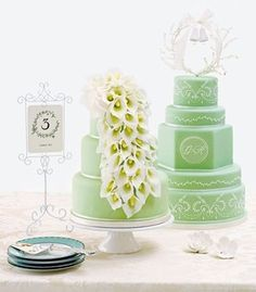 "Mint Wedding Cake ""Fresh As Mint"" - wish we saw this for our Mintspiration board! http://raymondleejewelersblog.com/2012/03/28/mint-green-wedding-inspiration-wedding-wednesday/"