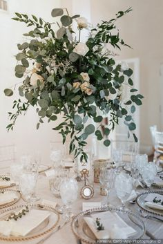 Gorgeous floral centerpiece decor for wedding reception - eucalyptus with white florals and gold accents {Kaleena Carol-Ann Photography}