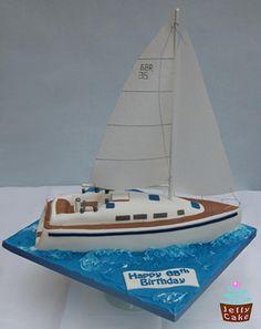 A Birthday Cake modelled on a Yacht. Birthday Cake Models, 65 Birthday Cake, 65th Birthday, Nautical Birthday Cakes, Nautical Cake, Nautical Theme, Cupcakes, Cupcake Cakes, Sailboat Cake