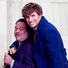 Eddie Redmayne and Dan Fogler's friendship     Eddie and I had great chemistry right away. We improvised in character at the first audition and I think that really helped me get the part. I was really comfortable with Eddie. It really matters to have someone his character gets along with. Jacob had to be someone likable enough to get under Newt's skin and make him start to think there's more to life than magical creatures. Dan Fogler  gif