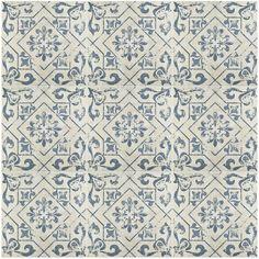 "EliteTile Lotus 17.75"" x 17.75"" Ceramic Field Tile in Blue"
