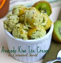 Avocado Kiwi Ice Cream with Caramel Swirl. There's whipped cream that can be switched out with coconut milk. This would be scrumptious!