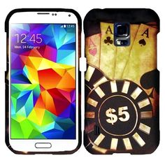 Insten Rubberized Pattern Dust Proof Hard Plastic Phone Case Cover for Samsung Galaxy S5 Active (Ace Poker), #1925513
