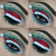 Christmas Makeup Look, Holiday Makeup Looks, Makeup Eye Looks, Eye Makeup Art, Eyeshadow Makeup, Christmas Hair, Fun Makeup, Winter Makeup, Christmas Parties