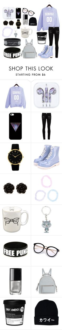 """Don't Notice Me Senpai"" by someoneontheinternet ❤ liked on Polyvore featuring Casetify, Paige Denim, Erica Lyons, Sloane Stationery, Chanel and Fendi"