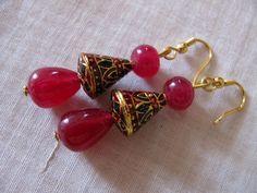 Enamelled earrings Minakari cones drop and by Chitrasjewelart, $19.00