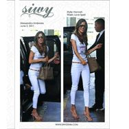 Alessandra wearing Siwy Hannah White Slim Crop Jeans on sale at $165