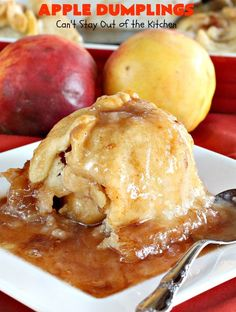 Apples are filled with cinnamon-sugar and nutmeg in a flaky pastry crust and cooked in a cinnamon-sugar-nutmeg syrup. Apple Desserts, Just Desserts, Delicious Desserts, Yummy Food, Party Desserts, Health Desserts, Tasty, Fruit Recipes, Apple Recipes