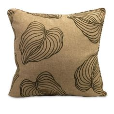 """Quanto Pillow -  Nature inspired brown pillow with leaf pattern. Material: 70% Poly-fill, 30% Polyester. 25""""h x 25""""w."""