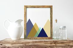 Abstract Wall Art, Mountains Wall Art, Navy And Mustard, Nordic Wall Print, Gallery Wall Print, Unique Gift Ideas,Gallery Art Poster- PT0265 by ShabbyShackStudio on Etsy