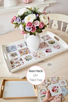 Easy DIY Tiled Tray Hi everyone, Today I am turning a Ikea Klack tray into something a little fancier. For ages, I have been wanting to use some pretty tiles in a DIY but I was unsure how to… Pot Mason Diy, Mason Jar Crafts, Bottle Crafts, Diy Hanging Shelves, Floating Shelves Diy, Azulejos Diy, Diy Tuiles, Diy Pochette, Hacks Diy