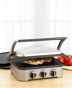 Cuisinart GR-4N Griddler  $139.99 at Macy's (on sale for $99 this week)  http://www1.macys.com/shop/product/cuisinart-gr-4n-griddler?ID=119834&CategoryID=7560  A versatile cooking aid that lets you grill to goodness and press to impress. In brushed stainless steel with embossed logo, the Cuisinart griddler features removable nonstick contact grill, open grill and griddle plates, along with a panini press, all designed to drain grease for healthy cooking.