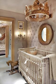Pinspiration - 125 Chic-Unique Baby Nursery Designs - Style Estate -I like the wall in this room Baby Bedroom, Baby Room Decor, Nursery Room, Girl Nursery, Girl Room, Disney Nursery, Kids Bedroom, Horse Nursery, Child Room